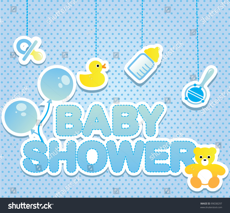 Baby Shower Card Boy Stock Vector 99038297 Shutterstock