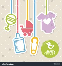 Baby Shower Design Over Dotted Background Stock Vector ...