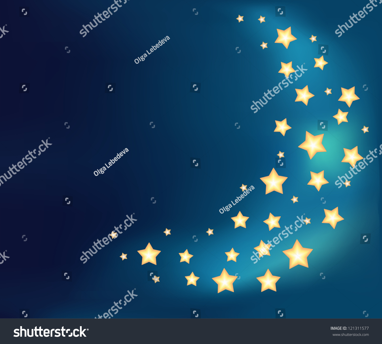 Background Moon Made Shiny Cartoon Stars Stock Vector