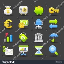 Banking Finance Business Money Icon Set Dark Series