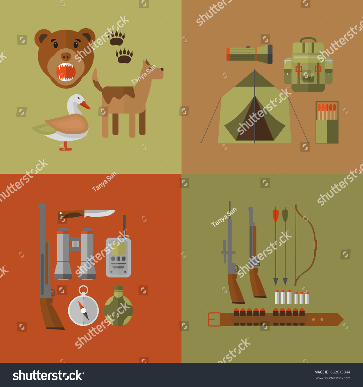 hight resolution of banner of hunting equipment and gear for hunt vector icon collection rifle knife