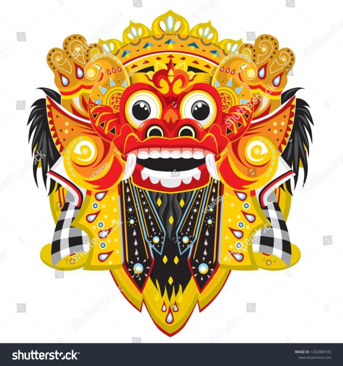 Barong Balinese Culture Bali Indonesia Barong Stock Vector Royalty Free 1202089105