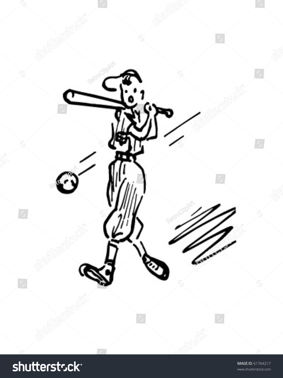 hight resolution of baseball batter retro clip art