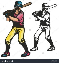 baseball batter vector illustration [ 1500 x 1597 Pixel ]