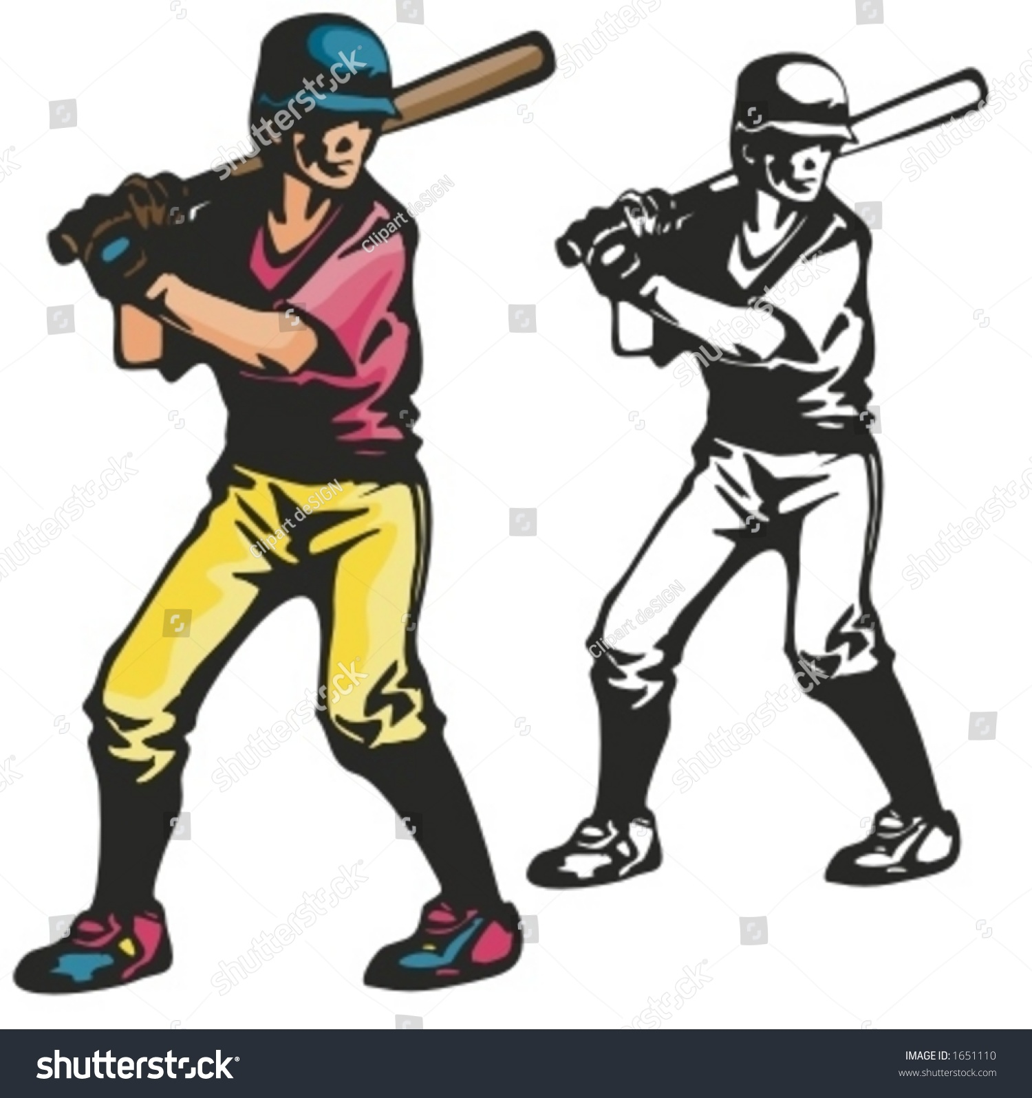 hight resolution of baseball batter vector illustration