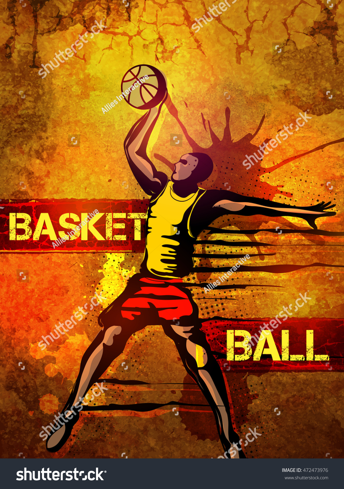 Basketball Player In Action, Creative Abstract Sports Background With  Splash, Can Be Used As