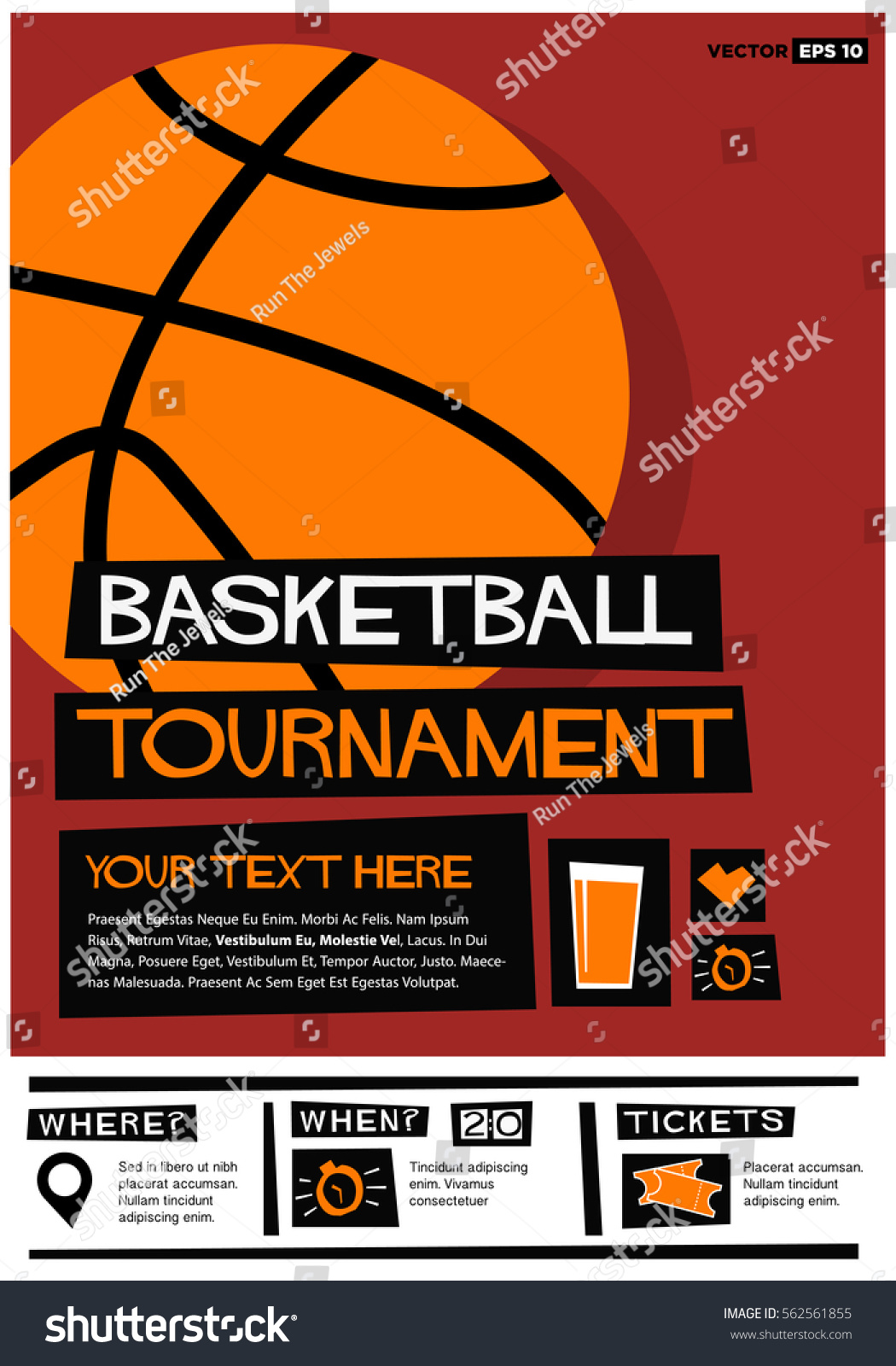 Basketball Tournament Flat Style Vector Ilration Sports Poster Design Event  Invitation With Venue And
