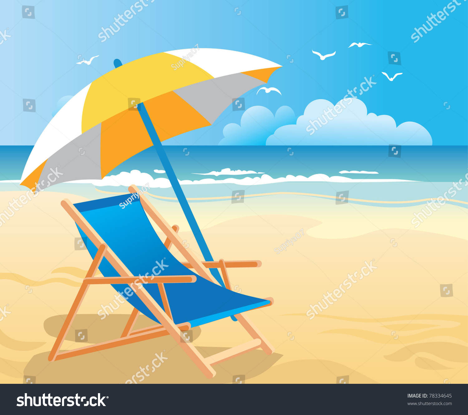 beach chairs and umbrellas pictures on wheels for elderly chair umbrella stock vector 78334645 shutterstock