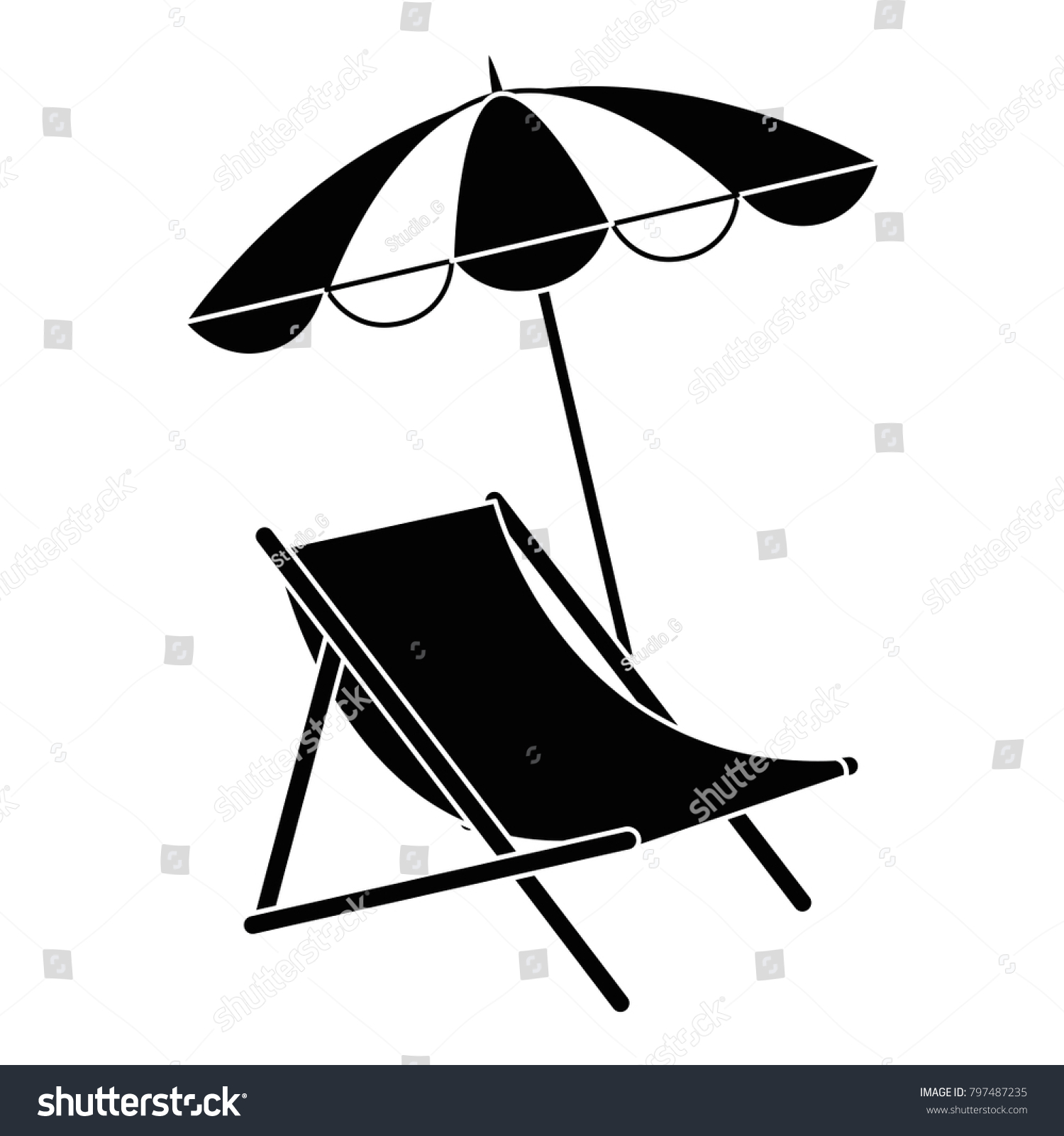 Chair With Umbrella Beach Chair Umbrella Stock Vector Royalty Free 797487235