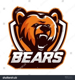 colorful logo emblem growling bear grizzly evil predator ready to attack sports style vector illustration printing on t shirts ez canvas [ 1500 x 1600 Pixel ]