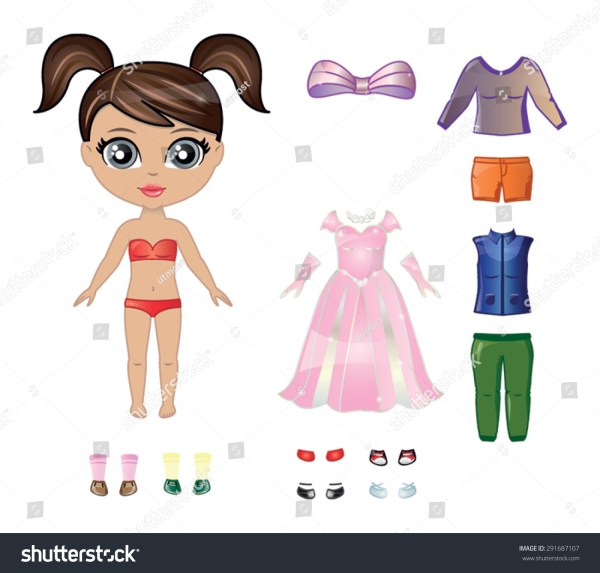 Beautiful Vector Dress Paper Doll Body Stock Vector