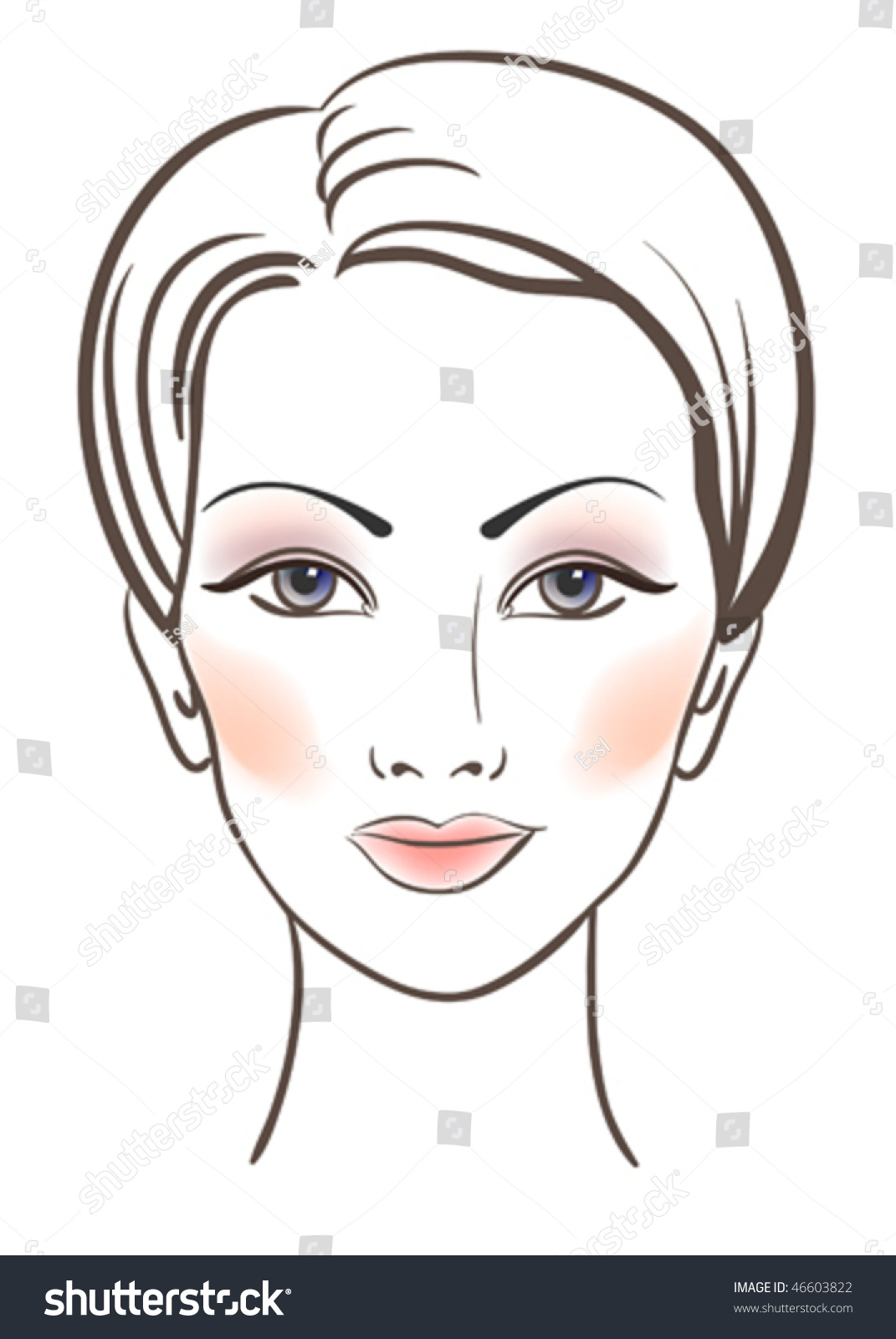 Beauty Women Face Makeup Vector Illustration Stock Vector