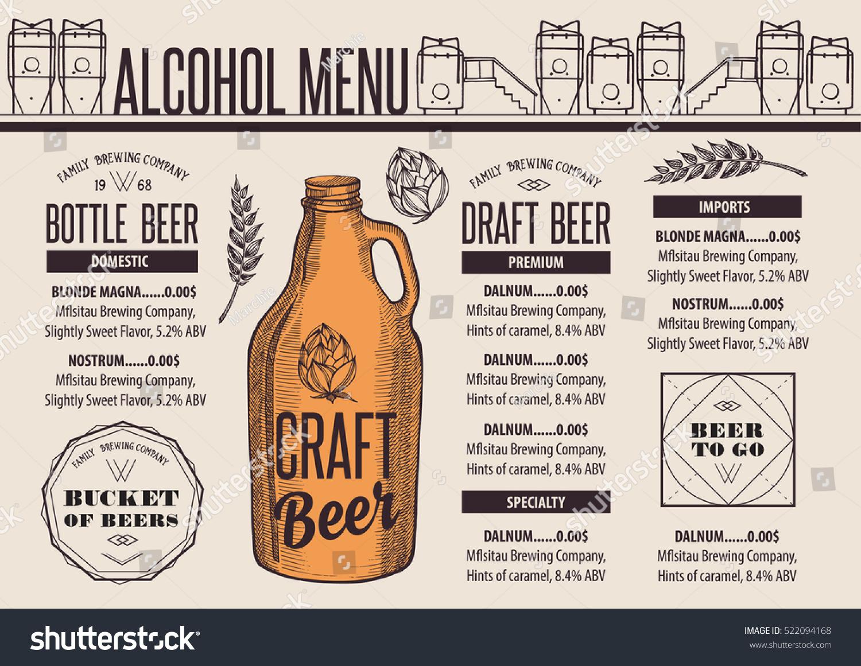 Beer Menu Placemat Food Restaurant Brochure Stock Vector 522094168 ...