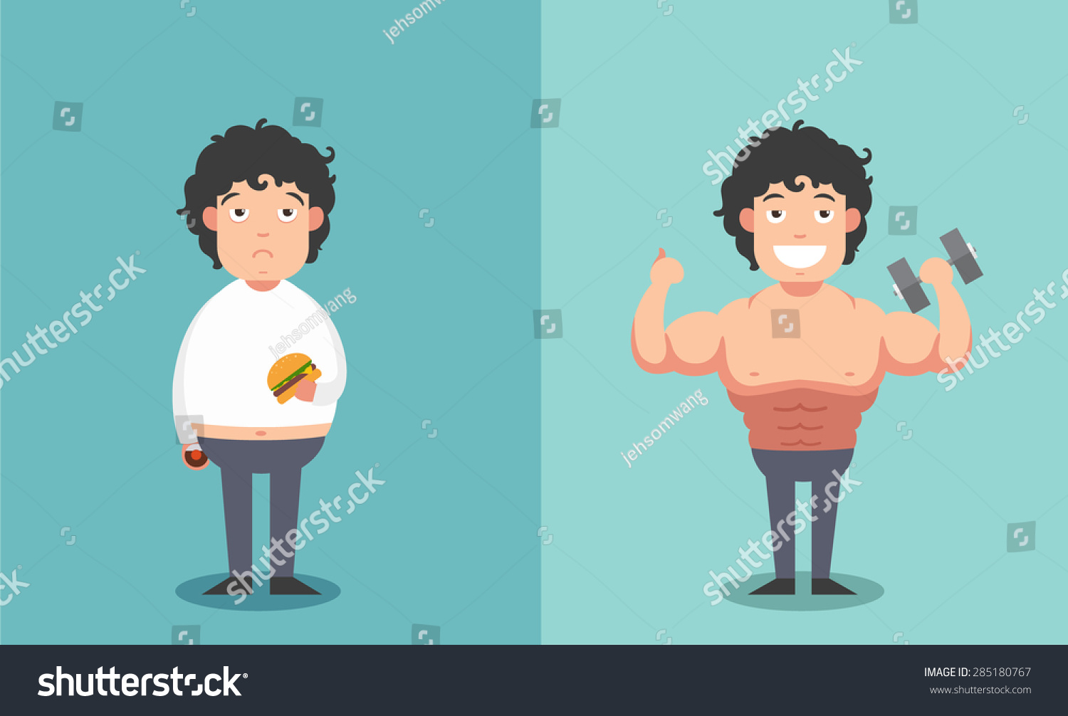 Before And After Of The Man In Fat And Thin Shapes Concept