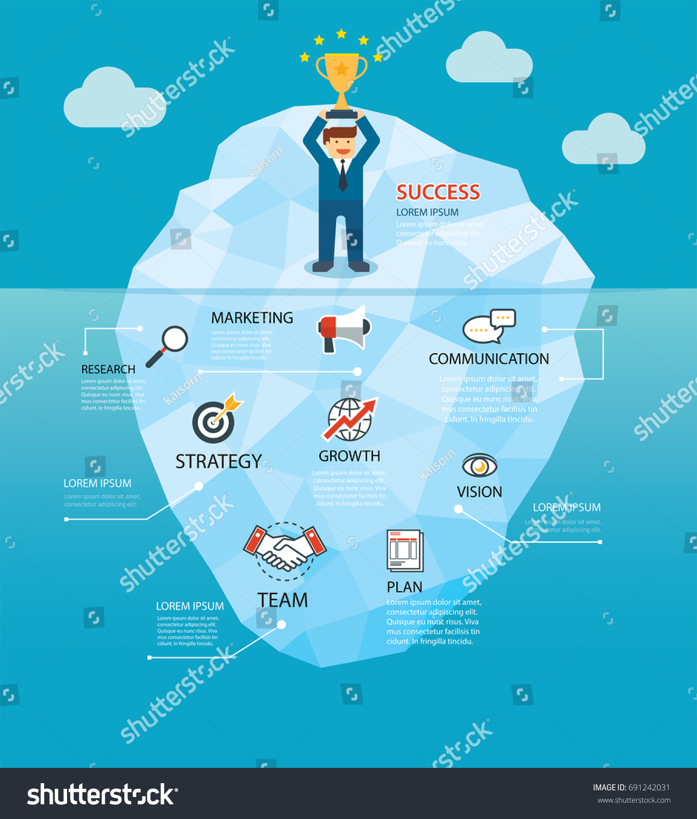 Behind Success Business Iceberg Concept Background Stock