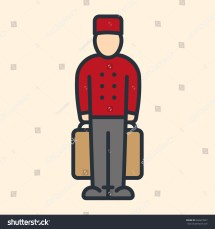 Bell Boy Character Red Uniform Cap Stock Vector 562627837