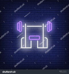 bench with barbell neon sign fitness club sport and advertisement design night bright [ 1500 x 1600 Pixel ]