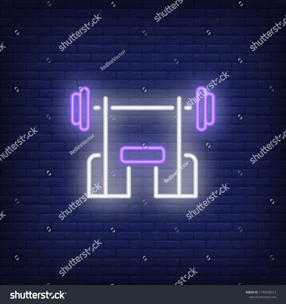medium resolution of bench with barbell neon sign fitness club sport and advertisement design night bright