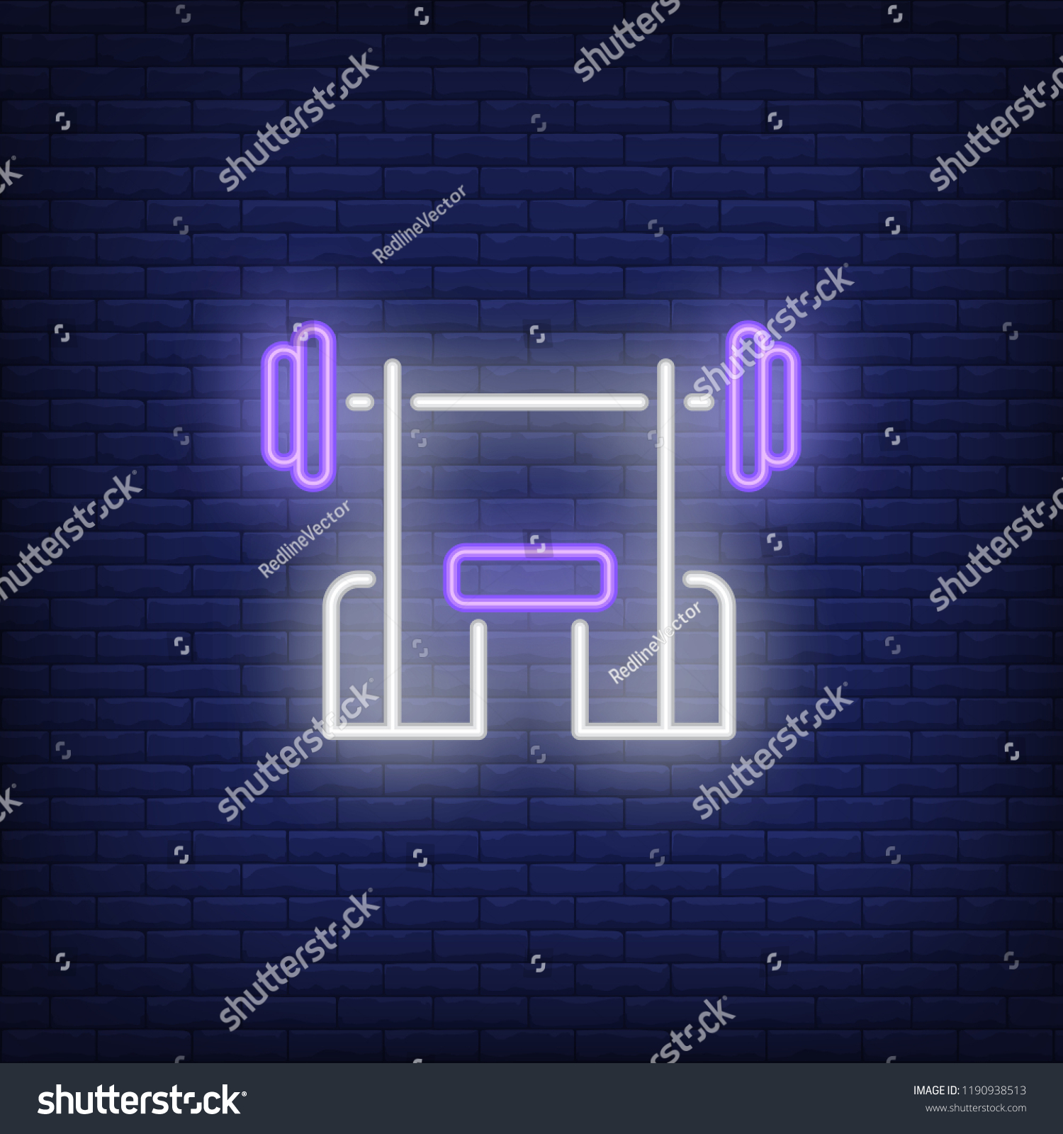 hight resolution of bench with barbell neon sign fitness club sport and advertisement design night bright