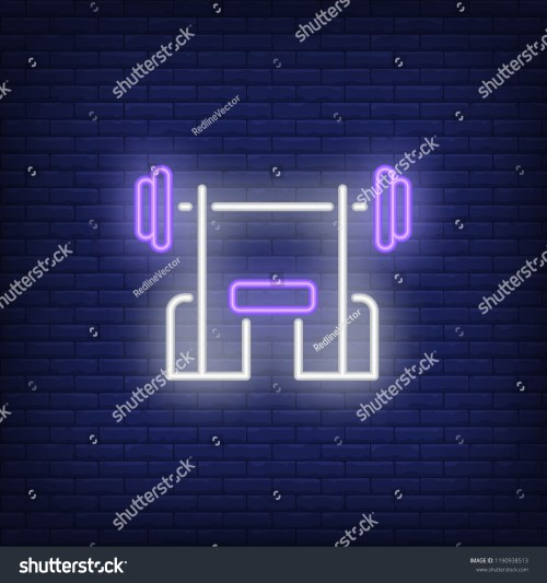 small resolution of bench with barbell neon sign fitness club sport and advertisement design night bright