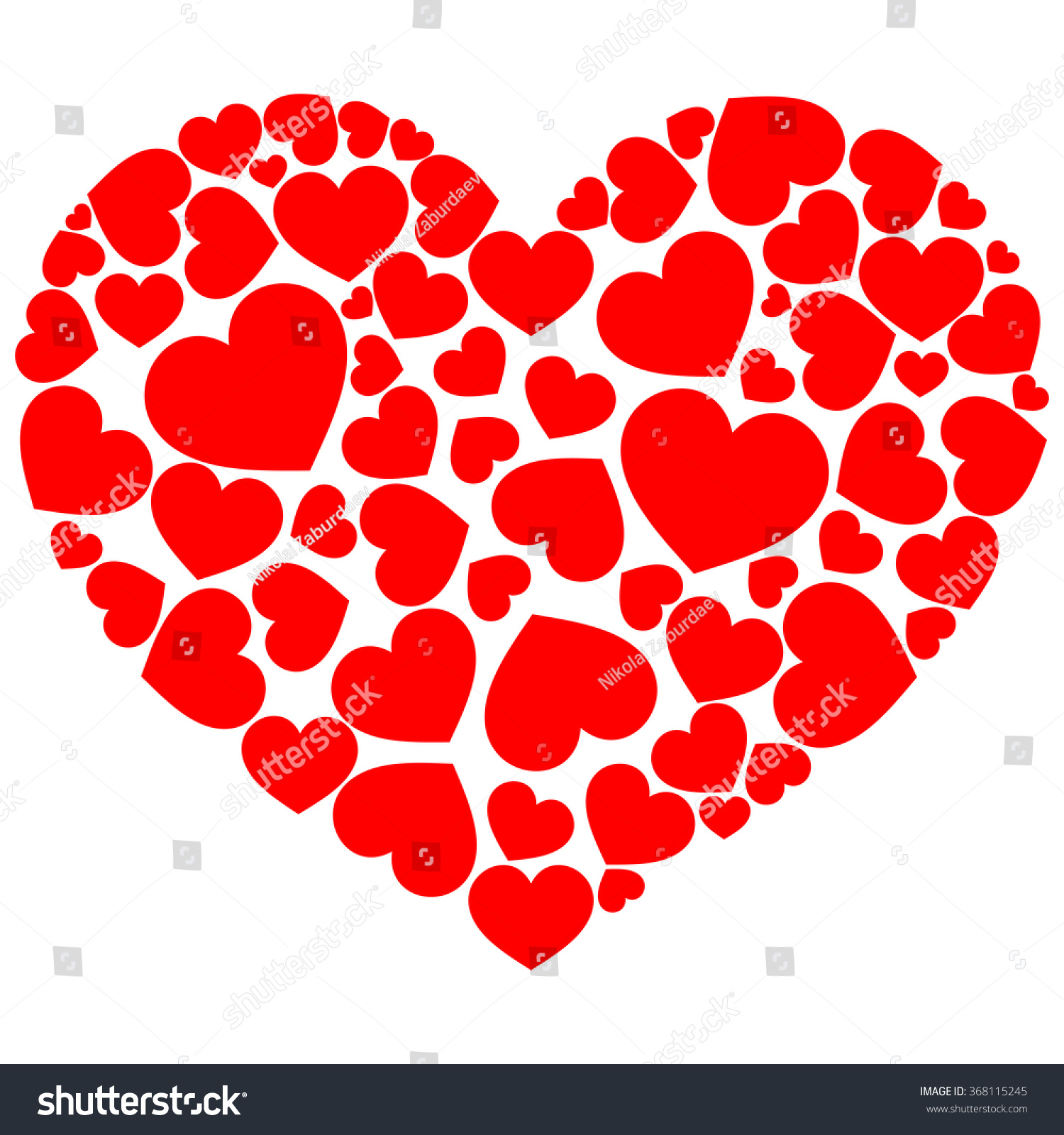 Big Heart Composed Small Hearts Stock Vector