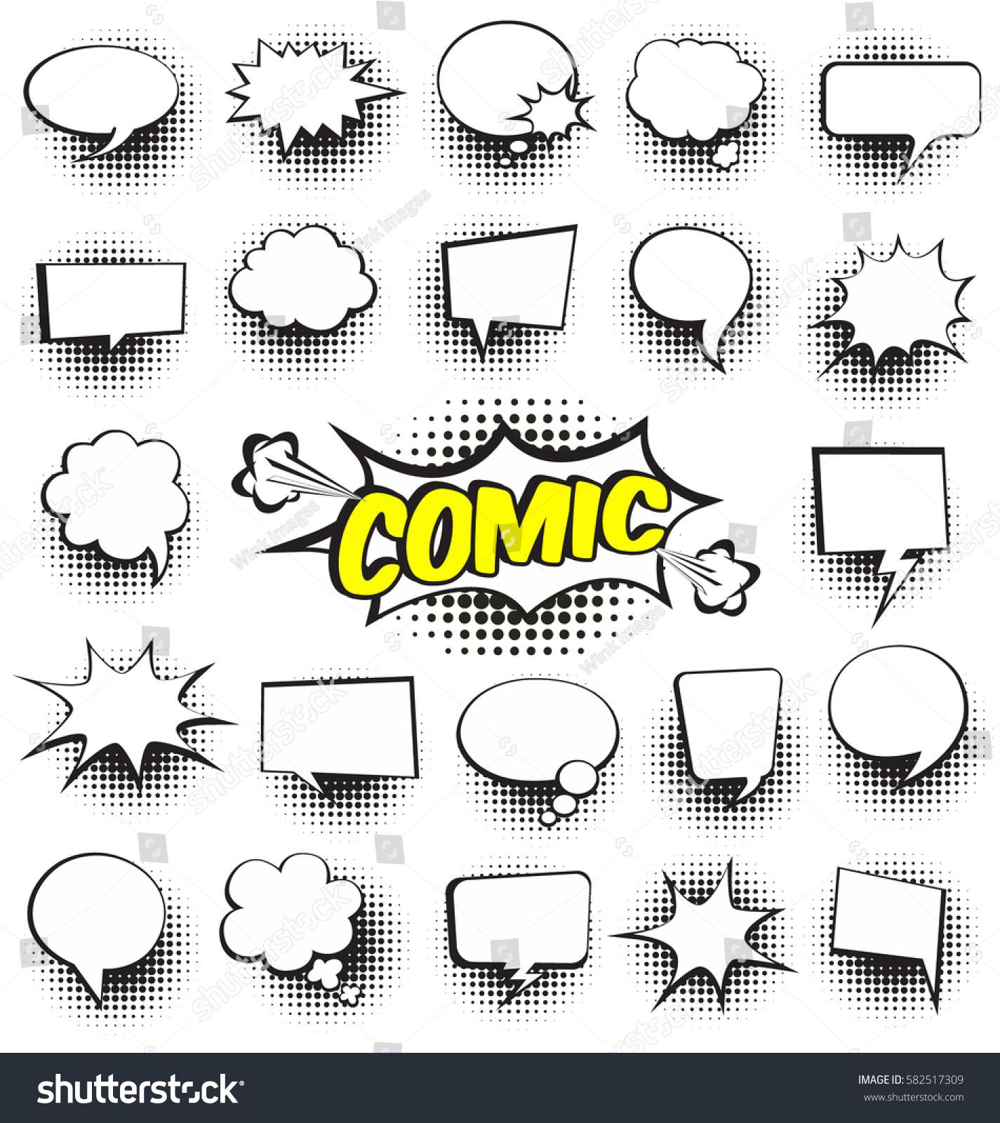 Big Set Cartooncomic Speech Bubbles Empty Stock Vector