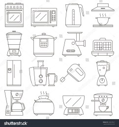 big set of line icon of electrical kitchen appliances isolated on white background vector flat  [ 1500 x 1600 Pixel ]