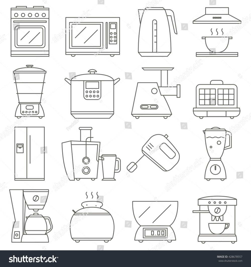 medium resolution of big set of line icon of electrical kitchen appliances isolated on white background vector flat