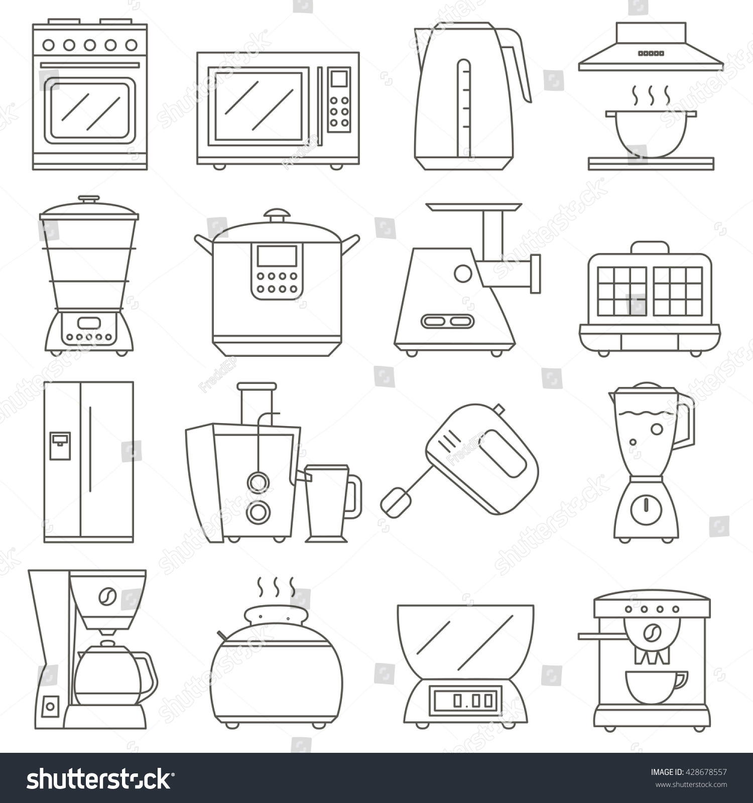 hight resolution of big set of line icon of electrical kitchen appliances isolated on white background vector flat