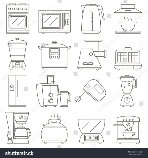 small resolution of big set of line icon of electrical kitchen appliances isolated on white background vector flat