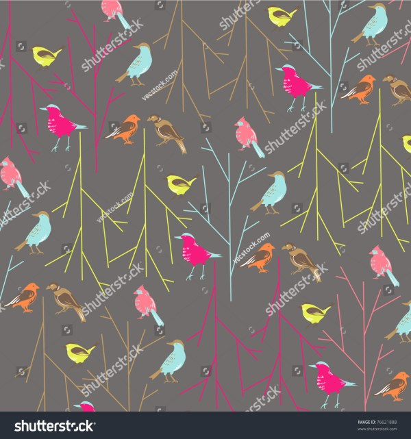 Bird Fabric Pattern Design Stock Vector Illustration