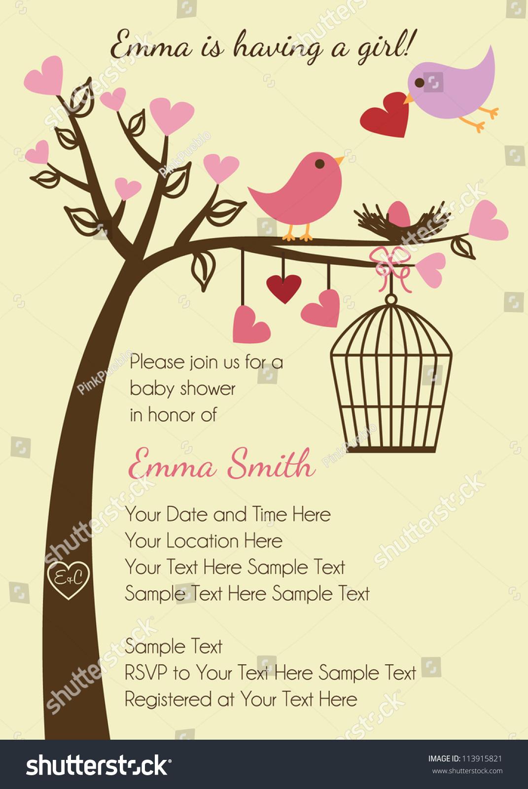 Bird Family Baby Shower Invitation Template Stock Vector Illustration 113915821 : Shutterstock