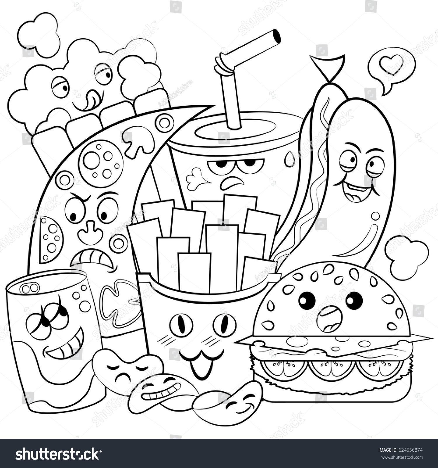 Doodle Art Food Doodle Color