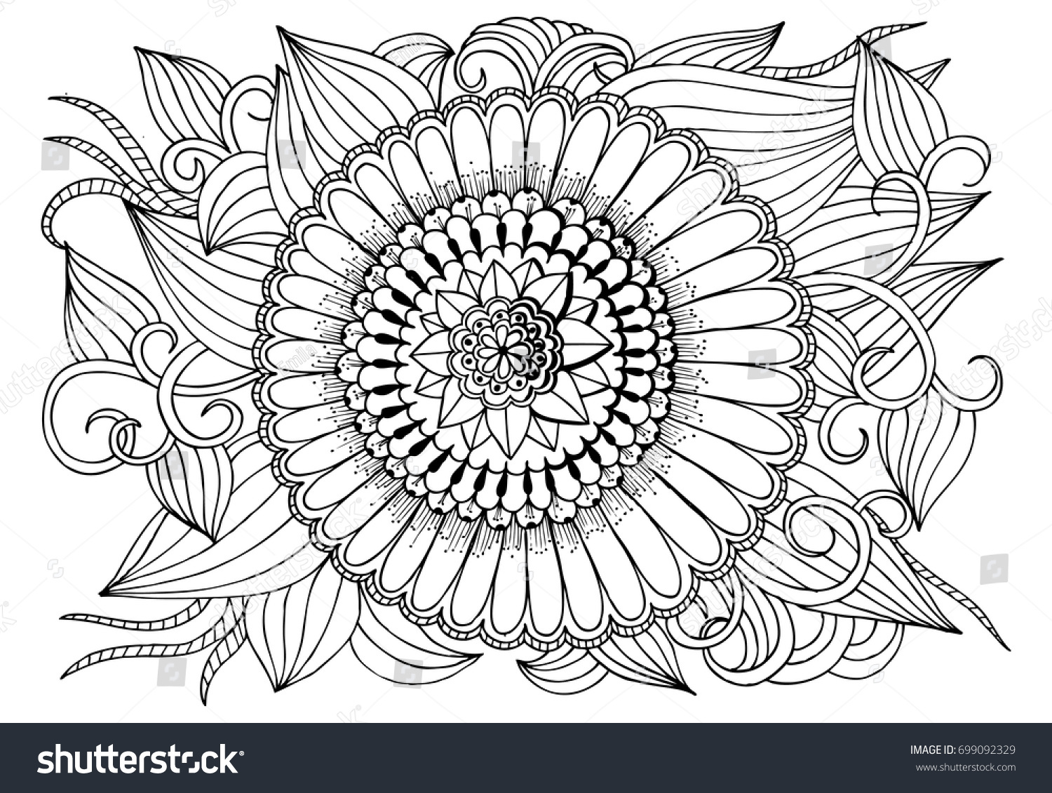 Black White Flower Pattern Adult Coloring Stock Vector