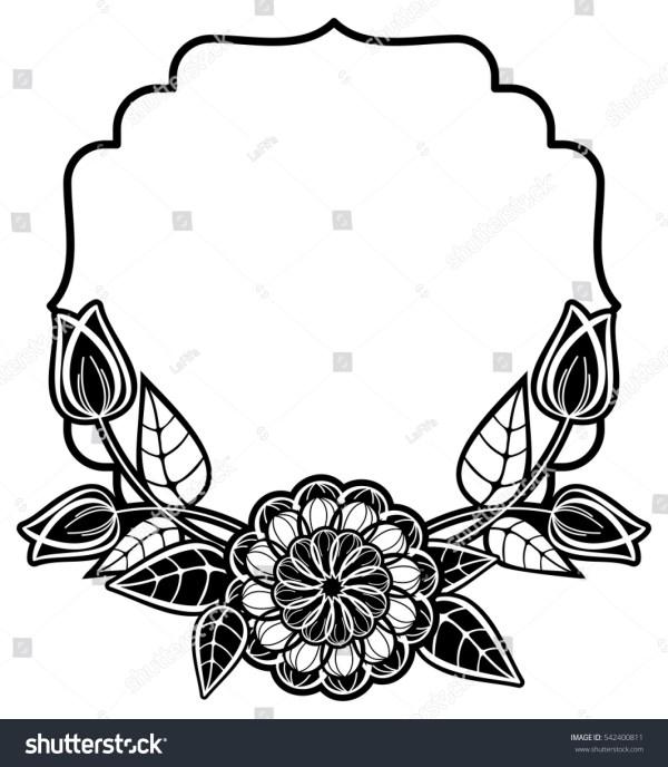 black white frame decorative flowers