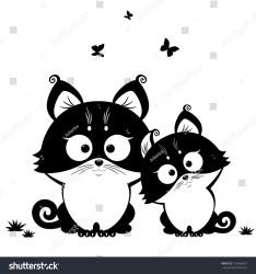 cat silhouette cute vector cats illustration kitten vectorstock julija shutterstock chat vectors kitties illustrations head dog