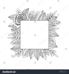 black and white rose and leaves frame isolated hand drawn vintage floral decorative frame  [ 1500 x 1600 Pixel ]