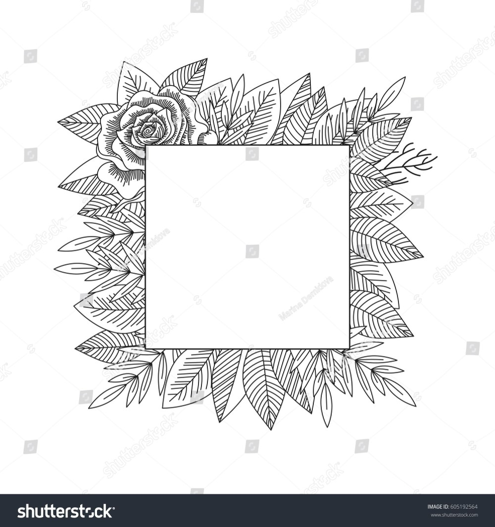 medium resolution of black and white rose and leaves frame isolated hand drawn vintage floral decorative frame