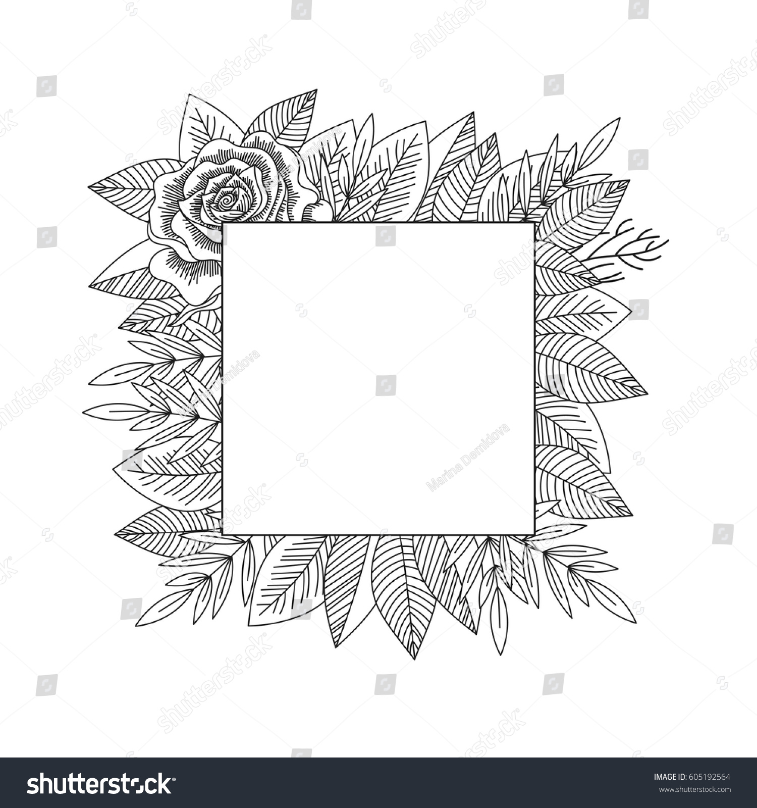 hight resolution of black and white rose and leaves frame isolated hand drawn vintage floral decorative frame