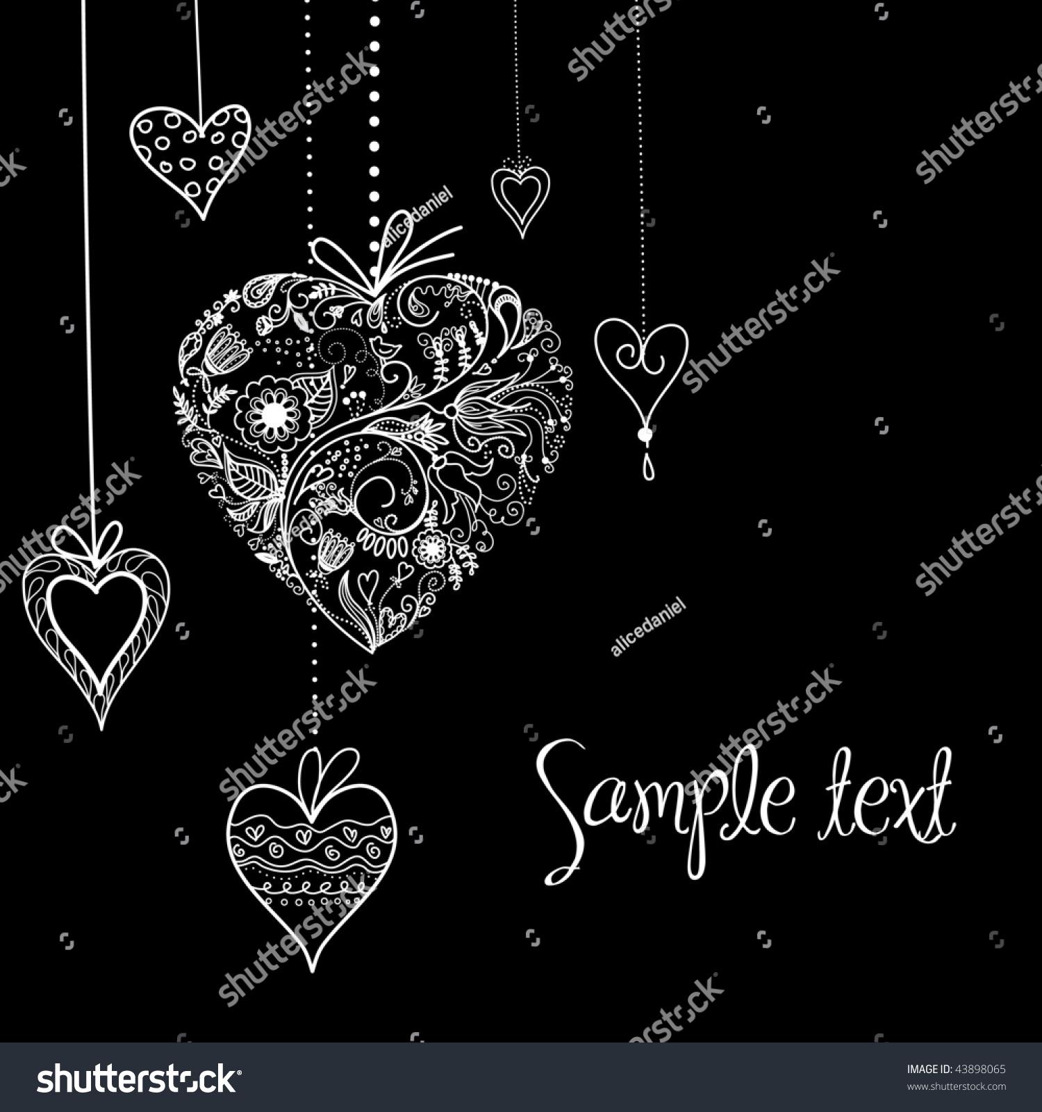 Black And White Valentine Heart Shapes Illustration