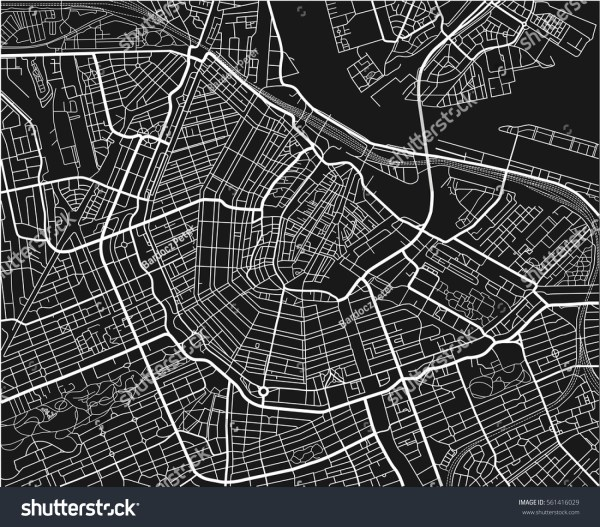 Black White Vector City Map Amsterdam Stock Vector