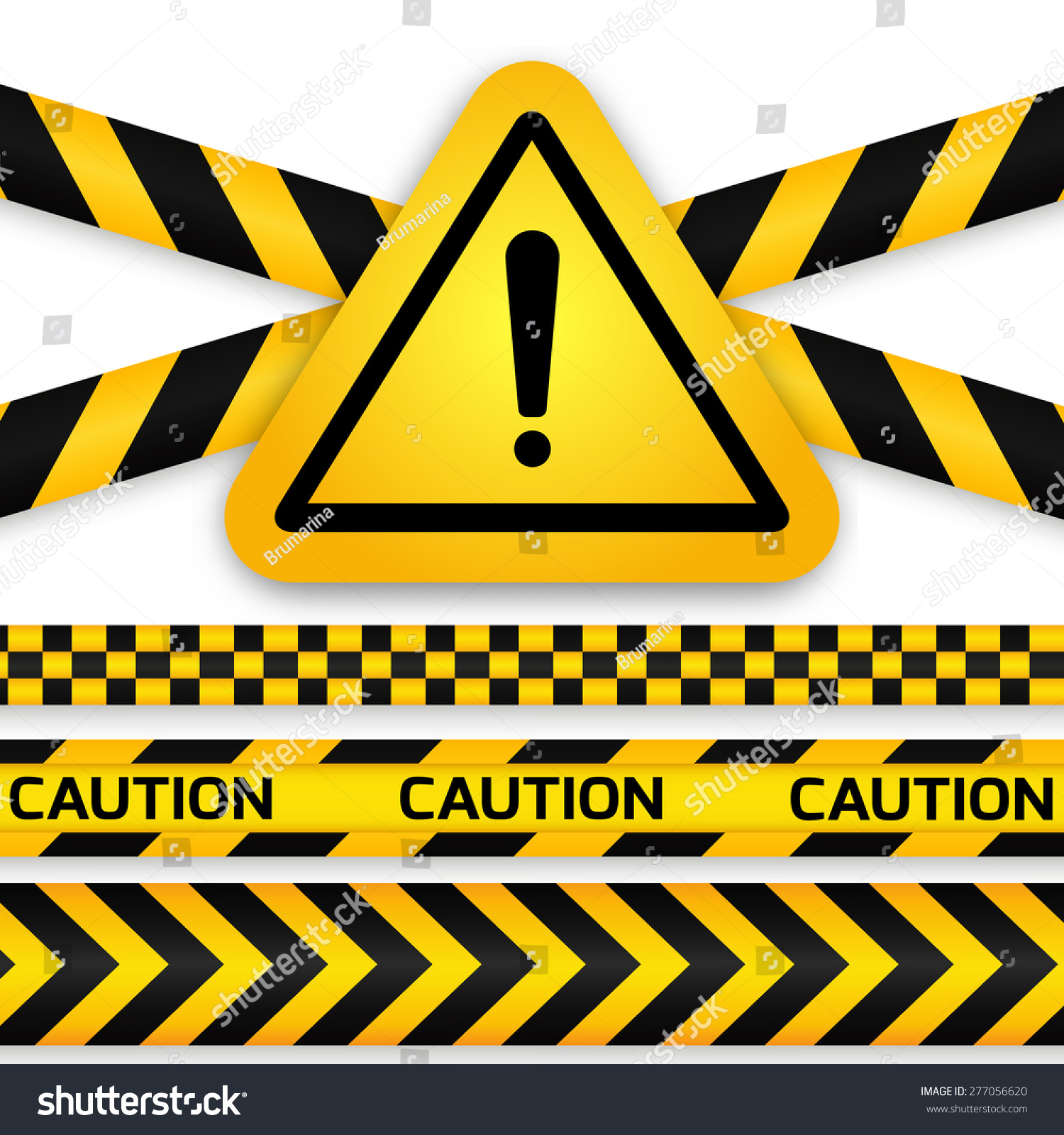Black Yellow Caution Striped Tapes Yellow Stock Vector