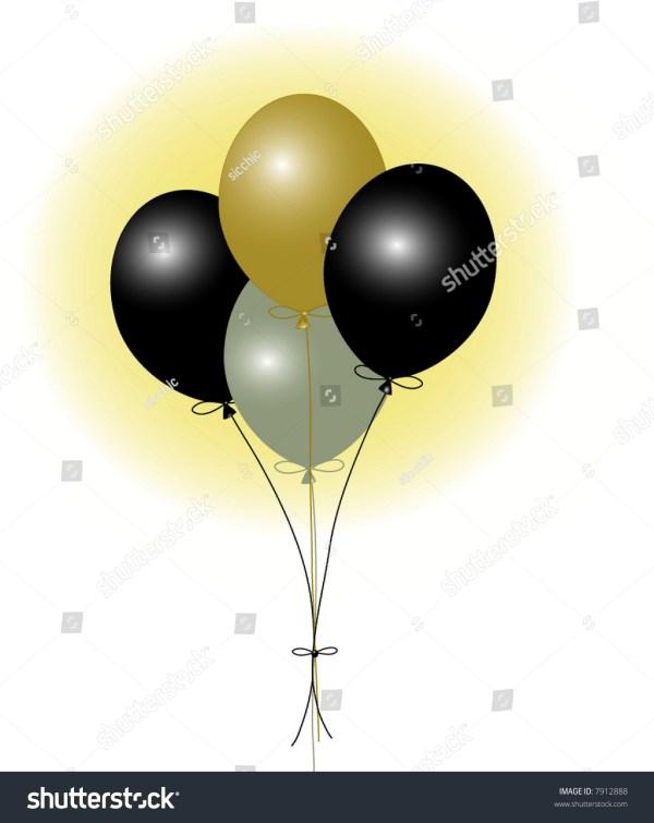 black gold silver balloons stock