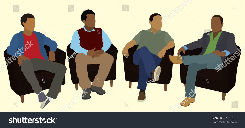 Black African American Men Socializing Group Stock Vector