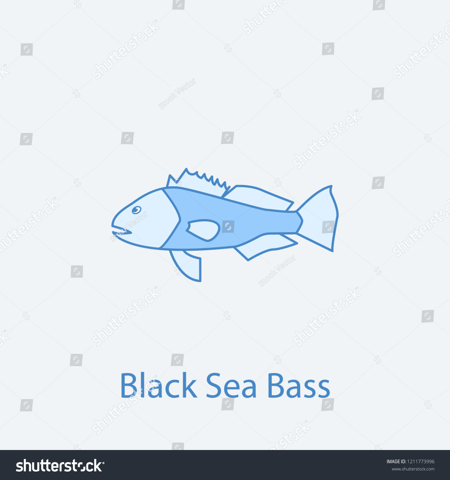 hight resolution of black sea bass 2 colored line icon simple light and dark blue element illustration