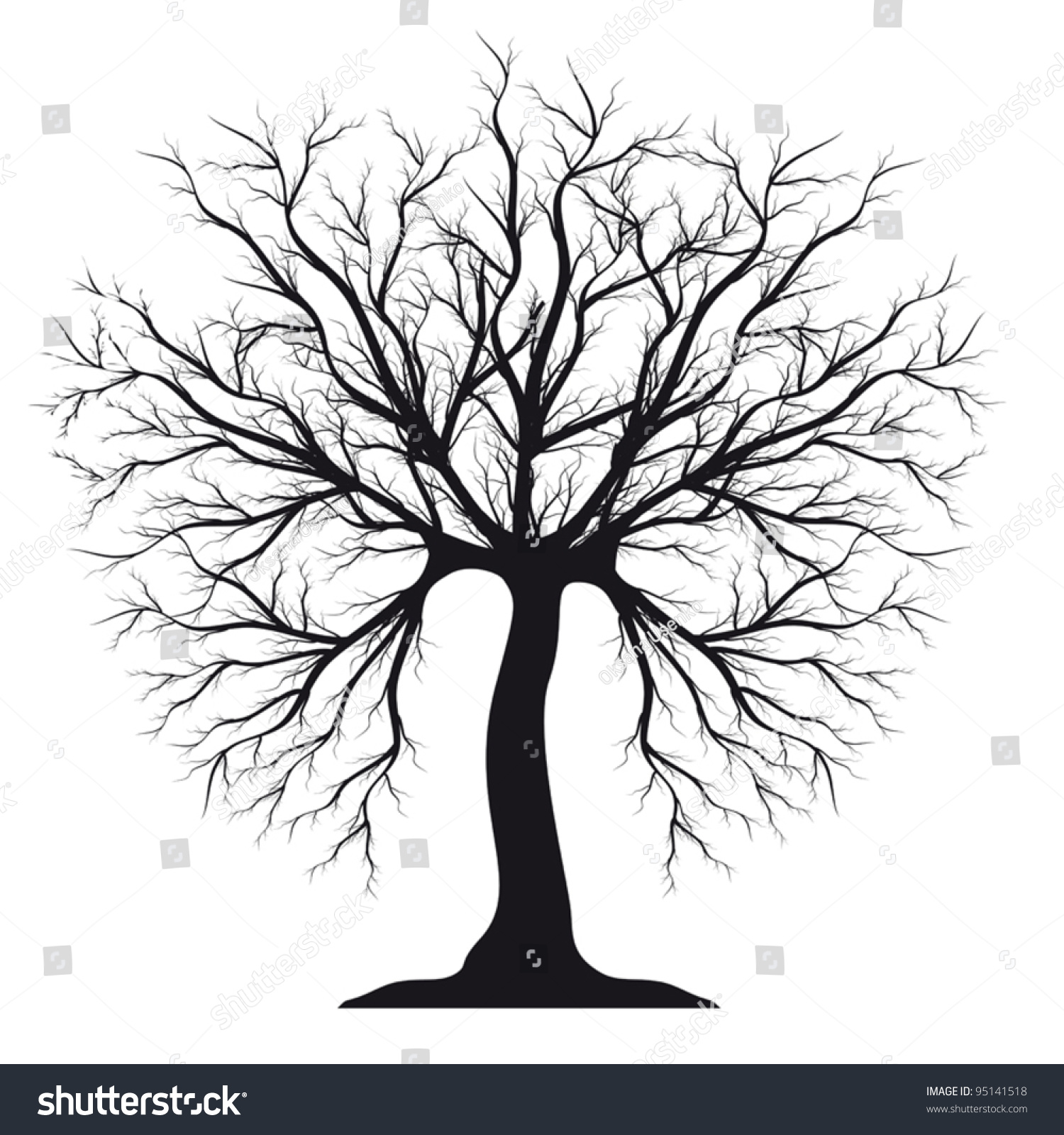 Black Silhouette Tree Without Leaves Stock Vector