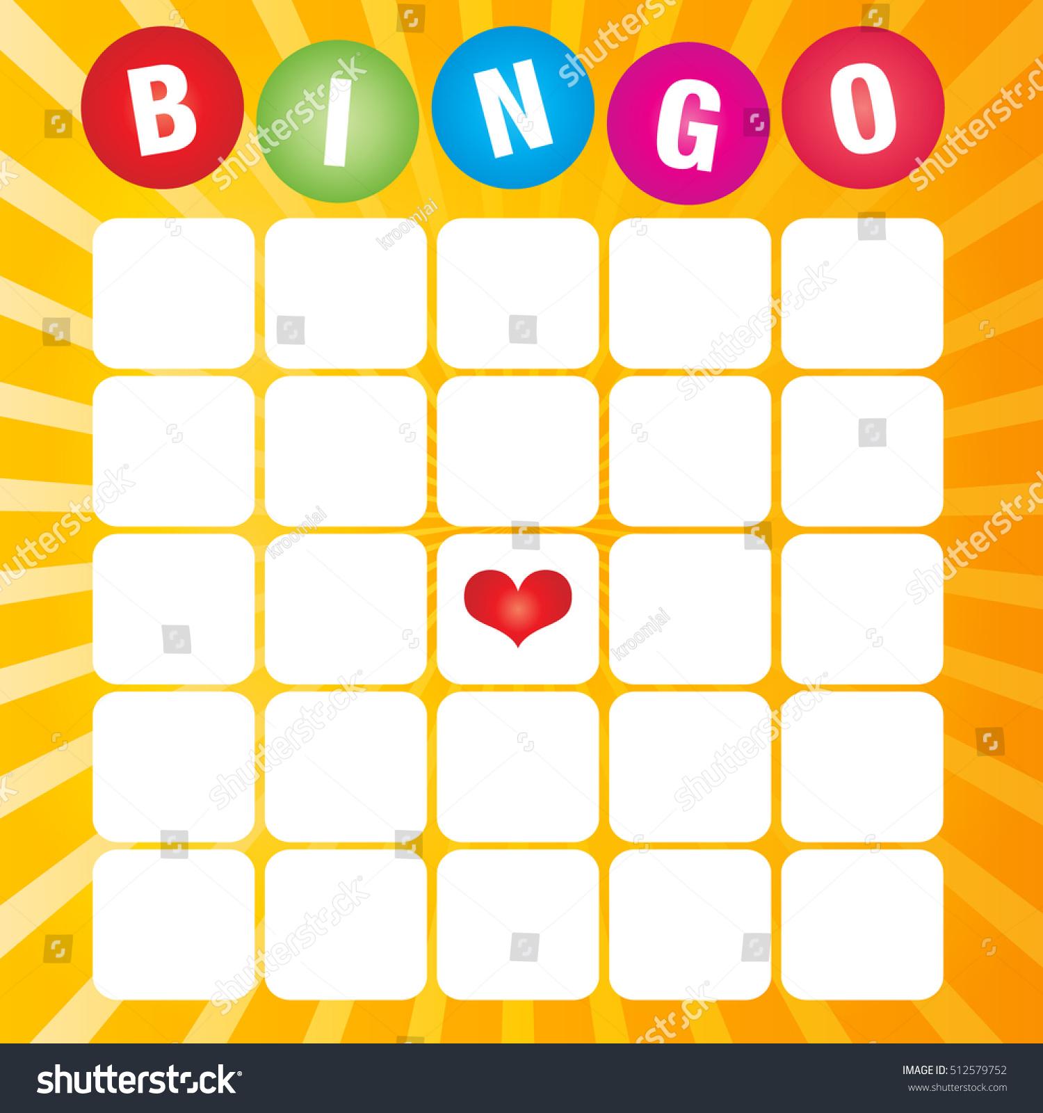 Blank Bingo Cards Vector Format Stock Vector