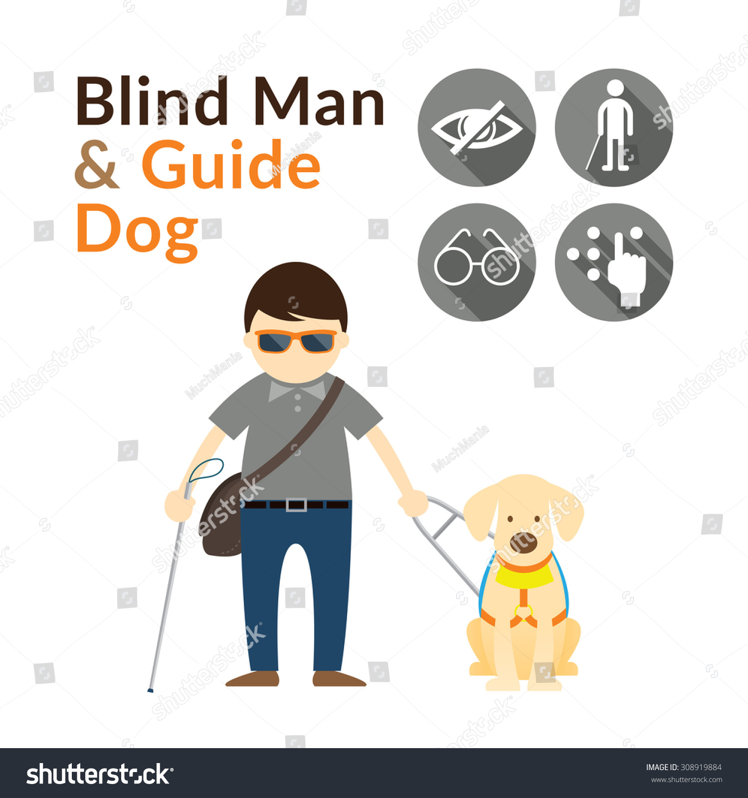Blind Man With Guide Dog Seeing Eye Dog Illustrate And Icons