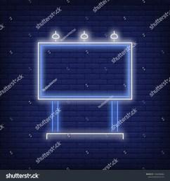 blue billboard neon sign glowing neon advertising billboard on brick wall background vector illustration [ 1500 x 1600 Pixel ]