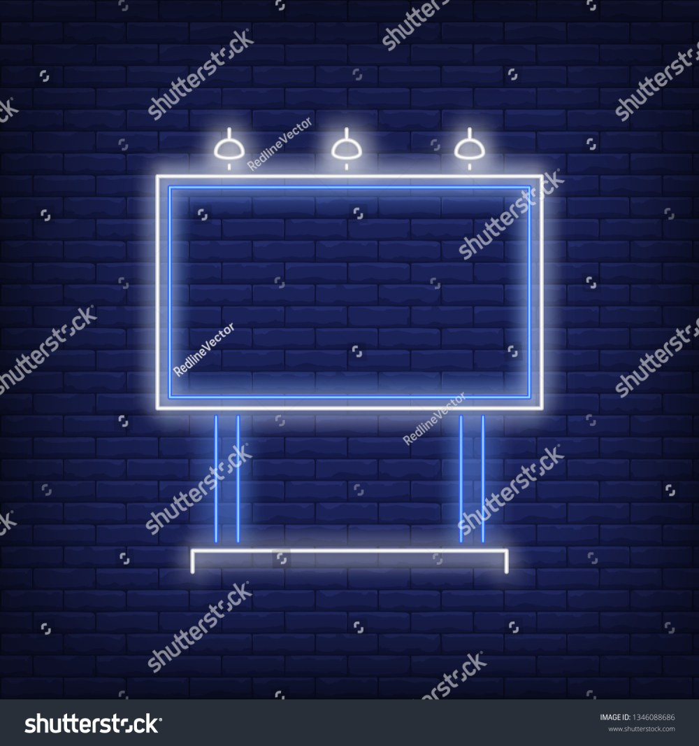 medium resolution of blue billboard neon sign glowing neon advertising billboard on brick wall background vector illustration